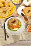 Cream cheese and smoked salmon bagel Stock Photography