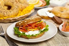 Cream cheese and smoked salmon bagel Royalty Free Stock Photography