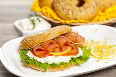 Cream cheese and smoked salmon bagel Stock Images