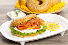 Cream cheese and smoked salmon bagel Stock Image