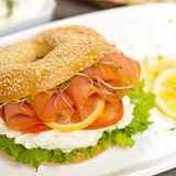 Cream cheese and smoked salmon bagel Royalty Free Stock Images