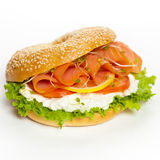 Cream cheese and smoked salmon bagel Royalty Free Stock Image