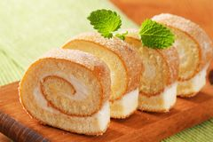 Cream cheese sponge roll Stock Images