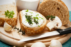 Cream and cheese spread. With garlic and herbs Royalty Free Stock Image