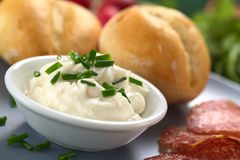 Cream Cheese With Chives Royalty Free Stock Image