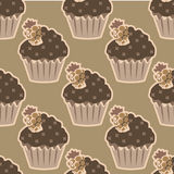 Cream choco cake seamless pattern Royalty Free Stock Images