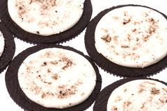 Cream and chocolate cookies. Open cream and chocolate cookies royalty free stock photo