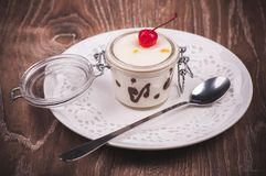 Cream and chocolate desert in jar Stock Photography
