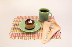 Cream Chocolate Mousse Cake and Coffee Place Setting Stock Photography