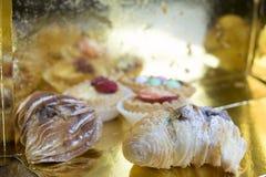 Cream and chocolate pastries Stock Photos