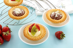 Cream And Chocolate Tarts Royalty Free Stock Images
