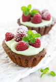 Cream chocolate tarts with raspberry and mint Royalty Free Stock Photography