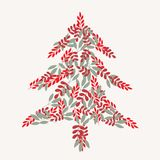 Cream christmas tree and leaves pattern vector illustration