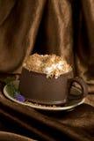 Cream coffee with chocolat crumb Royalty Free Stock Image
