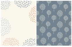 Simple Abstract Floral Card And Pattern. Pale Blue and Red Flowers on a Light Beige Background. vector illustration