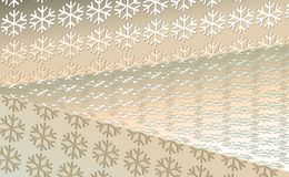 Cream-colored background New Years, Christmas from light snowflakes on backdrop nut color. Vector illustration for design and deco. Rating vector illustration