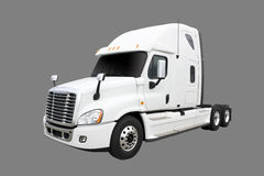 Cream colored Transport truck. White colored transport truck isolated on grey with clipping path included Stock Photo