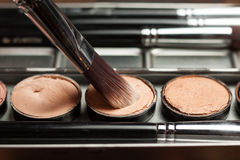 Cream concealer palette in metal case. Professional cosmetic. Cream concealer. Working with skin defects Stock Photos
