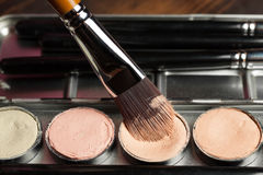 Cream concealer palette in metal case. Professional cosmetic. Cream concealer. Working with skin defects Stock Image