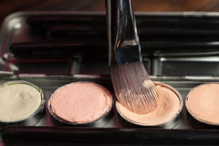 Cream concealer palette in metal case. Professional cosmetic. Cream concealer. Working with skin defects Stock Photo