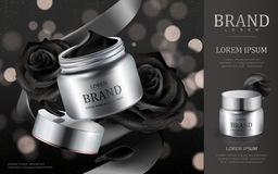 Cream cosmetic ads. Silver cream container with black roses petals isolated on black bokeh background, 3d illustration Royalty Free Stock Photography