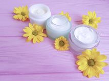 Cream cosmetic product yellow chamomile flowers pink wood background royalty free stock photo