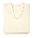 Cream cotton eco bag. On white background royalty free stock photos