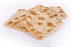 Cream Crackers. On white background Stock Photo