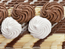 Cream Decorations On A Cake Stock Image