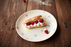 Cream dessert with fresh raspberries on plate on wood table. Cream dessert with fresh raspberries on plate on rustic wood table Royalty Free Stock Photography