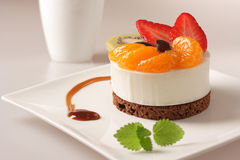 Cream dessert with fruit Stock Image