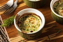 Cream Egg Bake in Ramekin. With Fresh Herbs Stock Photos