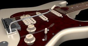 Cream Electric Guitar Closeup. On Dark Background Stock Illustration
