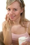 Cream on face Stock Photo