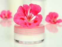 Cream for a face with flower Stock Photography