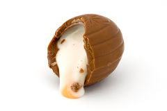 Cream filled chocolate easter egg Royalty Free Stock Images