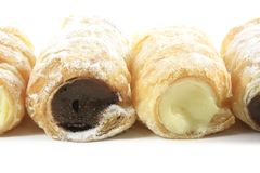 Cream Filled Horn Pastries Stock Photos