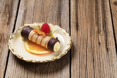 Cream filled wafer roll Stock Image