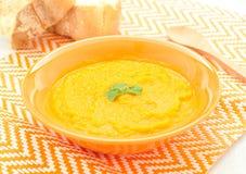 Cream of fresh carrots with turmeric Stock Photos