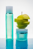 Cream with fresh fruits, cosmetic, water, apple, splash, action, Royalty Free Stock Photo