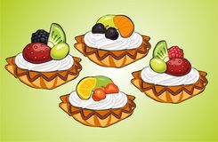 Cream fruit baskets Stock Photo