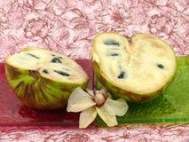 Cream fruit Cherimoya on background Stock Photos