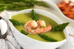 Cream of Green Asparagus with Shrimp Stock Photography