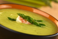 Cream of Green Asparagus with Shrimp Royalty Free Stock Photography