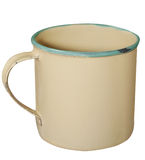 Cream and Green Enamel Mug Stock Images