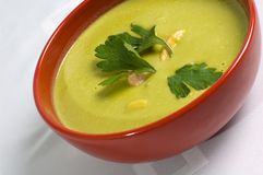Cream of green pea soup Royalty Free Stock Photos