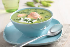Cream of green pea soup with salmon Stock Image