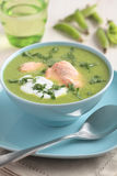 Cream of green pea soup with salmon Royalty Free Stock Images