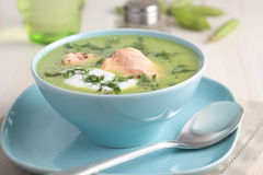 Cream of green pea soup with salmon Stock Images
