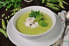 Cream of green peas with mint Stock Photo